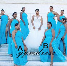 Turquesa Vestidos de dama de honor Africanos 2019 Dama de la novia Vestidos de noche Ocasiones formales Desgaste Plus Tamaño Split Gasa Encaje Mezclado Órdenes desde fabricantes