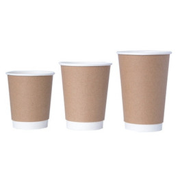 carta spessa kraft Sconti 500pcs / Lot Kraft Paper Coffee tazze con coperchio 3 formati Milk Tea Cup Spesso Bicchiere Coating Brown caffè 1 lotto EEA1027