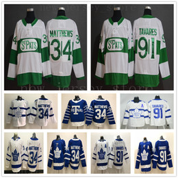 Dia verde dos miúdos on-line-St PATS Pattys Day Toronto Maple Leafs Hóquei Jerseys Verde 34 Matthews 91 Tavares Jersey Blue White Mens Kids Youth mulheres