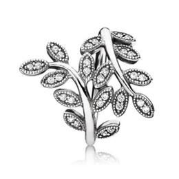 hoja de plata de ley 925 Rebajas Retro claro hoja de cristal ANILLO con Hallmark BOX para Pandora 925 plata esterlina mujeres anillos de regalo de boda conjunto accesorios de moda