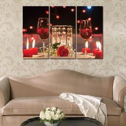 Quadri su tela Quadri 3 pezzi Modern Vins Bottiglia di vino rosso Bottiglia  di arte della parete Set per pittura Bar Sala da pranzo Cucina Decor No ...