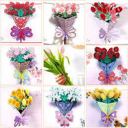 flores dos presentes do feliz aniversario Desconto Cartões do dia das mães Cartão Postal 3D POP UP Flor Obrigado MAMÃ Feliz aniversario Convite Personalizado Presentes Papel De Casamento