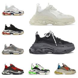 Scarpa al neon online-2019 scarpe da donna di lusso firmate triple s per uomo donna suola chiara neon verde nero bianco rosso sneakers da uomo con plateau