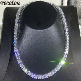Collares de diamante blanco para mujer online-Vecalon Tennis Necklace Lleno de oro blanco lleno de corte princesa 7 mm Diamond Party boda collares para mujeres hombres Hiphop joyería