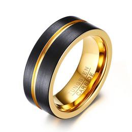 2019 anello di peridot giallo oro Cinturino da uomo in tungsteno da 8 mm con finitura nera opaca con banda in groove oro Comfort Fit da donna unisex