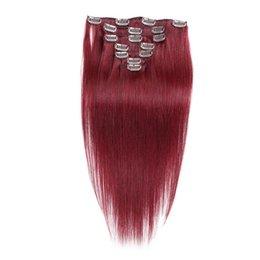 Remy pelo liso 99j trama online-Clip en Remy Extensiones de cabello humano 100% Virginal recta Real Trama del cabello teje 99J # clip en extensiones de cabello