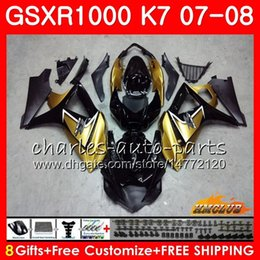 Kit de carenagem k7 gsxr on-line-Feeding for Suzuki GSXR 1000 GSX-R1000 K7 GSXR-1000 07 08 Bodywork 12HC.78 GSX R1000 GSXR1000 Black Gold Hot 07 08 2007 2008 Kit de corpo inteiro