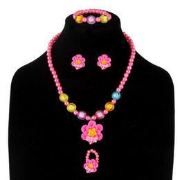 Комплект ювелирных изделий детей комплект онлайн-Children Hair Jewelry Set 5pcs/Set Flower  Kids Girls Necklace Bracelet Ring Earring Set Birthday Gift