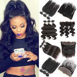 medium length weaves Promo Codes - Peruvian Body Wave Bundles with Lace Frontal Brazilian Deep Wave Kinky Curly Virgin Human Hair Weave 3 4 Bundles with Frontal Weaves Closure