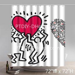 Grafiti personalizado online-Keith haring love heart Graffiti art cortina de ducha personalizada