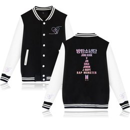Kpop повседневная бейсбольная униформа женщины K-Female Love Yourself фанаты одежда хип-хоп горячие продажи Harajuku одежда Бейсбол от Поставщики зимние платья из шерстяной вышивки