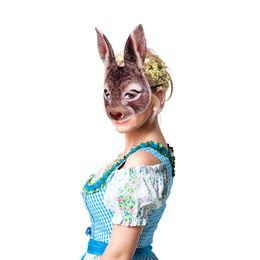 máscara de coelho adulto Desconto Orelhas de páscoa Coelho Animal Máscaras EVA Full Face Preto Branco Cor Marrom Adulto Máscara Do Partido Do Dia Das Bruxas Nova Chegada 6szE1
