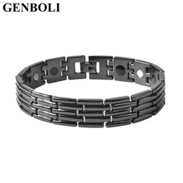 2019 биомагниты Men Women Bracelet Titanium Steel Health Magnet Energy Solid Color Black Bio Magnet Therapy Energy Bracelet Jewelry DIY Jewelry дешево биомагниты