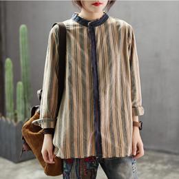 53835818 2019 Elegant Women Striped Shirt Long Sleeve New Spring Vintage Mori Girl  Female Cotton Linen Top Party Blusas YoYikamomo on sale