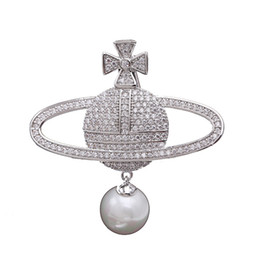 Broches de corea online-2019 Corea del Sur nueva gama alta con incrustaciones de circonio perla globo broche planeta de la mujer pin exquisito chaqueta de alta calidad con accesorios