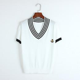 8a56c2a8 2019 ropa de diseñador de verano para mujer raya suelta contraste de color  blanco y negro con cuello en V suéter de manga corta camiseta ropa para mujer  top ...