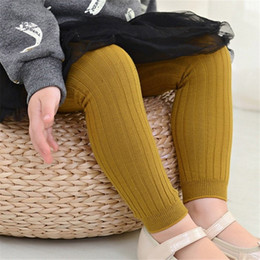 Calzini di colore caramelle online-Bambino Designer Collant Calze a righe Solid doppio ago caramella di colore dei calzini del jacquard del cotone bambino Leggings traspirante 40