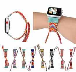 Banda de relógio de nylon on-line-Nylon tecido colorido banda para apple watch 38 mm / 40 mm / 42 mm / 44 mm criativas feitas à mão trançado correias para apple watch band