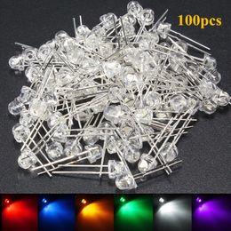 100 Stücke 5mm LED Diode DIY Kit Weiß Gelb Rot Blau Grün Lila Strohhut LED Weitwinkel Leuchtdiode Wasser Klar von Fabrikanten