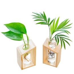 Vasi da giardino in legno online-Vaso caldo della provetta di cristallo in vasi da fiori del supporto di legno per le piante idroponiche Decorazione del giardino domestico