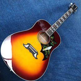 voando guitarra branca Desconto 41 polegadas fucsia DOVE + EQ Fishman, painel de abeto vermelho, mogno na parte de trás do lado, pau-rosa incrustada escala com conchas, livre de carga.