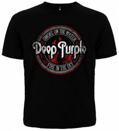 Camisa de algodão roxo profunda on-line-Novos Homens T-Shirt DEEP ROXO FUMO NA ÁGUA Roupas Rock Hot Selling 100% Algodão