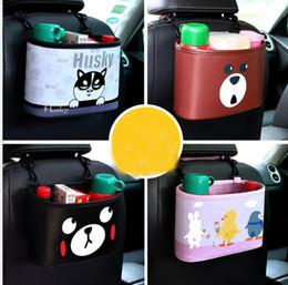 Perchas de coche online-Bolsa de almacenamiento de coche PU diseño de dibujos animados animales Coche de múltiples funciones Auto Asiento Organizador de suspensión de asiento Asiento Volver Bolsa LJJK1151