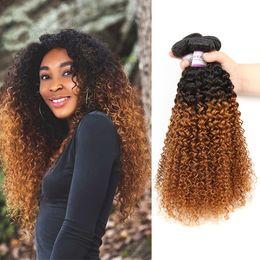 28 polegadas tecer cabelo castanho on-line-1B do cabelo brasileiro / 30 Brown Kinky Curly Pacotes Cabelo Weave Cabelo Humano 10-26 Inch Pacotes
