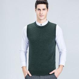 colete de malha grossa Desconto Lã homens Vest Thick O-Neck Negócios Casual mangas de malha Vest Outono Inverno Pullovers Sólidos de lã colorida