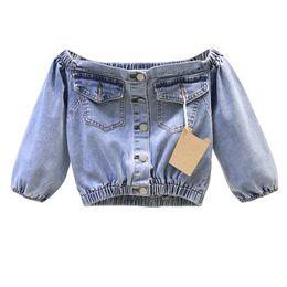 jaqueta de senhora mangas de sopro Desconto 2019 Novo Estilo Coreano Curto Ombro Jeans Top Mulheres Magro Slash Pescoço Manga Puff Denim Jacket Outwear Senhoras Streetwear