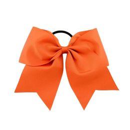 Argentina 20 Unids 8 Pulgadas Grandes Sólidos Cheerleading Ribbon Grosgrain Cheer Bows Lazo Con Banda Elástica / Niñas Goma para el cabello Hermosa Suministro