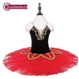 2019 tutu de ballet rojo Gilrs Red Ballet Tutu The Black Swan Performance Escenario Desgaste Niños Ballet Dance Competencia Disfraces Mujeres Falda tutu de ballet rojo baratos