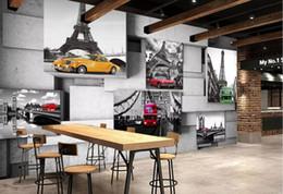 carro de papel vintage Desconto Torre do carro europeu do vintage papel de parede mural arte da parede 3d rolos de papel de parede para sala de estar restaurante murais contato papel personalizado
