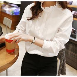 Blusa con cuello volante más el tamaño online-Camisa 100% de algodón mujeres de cuello blanco del tamaño extra grande de las mujeres con volantes Blusa trabajo Ropa de Señora Moda Casual Tops