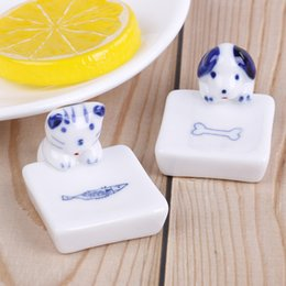 держатель керамической ложки Скидка 1PCS New Animal Dog Cat Ceramic Chopsticks Spoon Fork Holder Kitchen Chopstick Rest Stand Wholesale