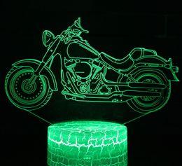 2019 цвет оптических иллюзий Мотоцикл 3D Светодиодные Оптические Лампы Иллюзии 7 Изменение Цвета Сенсорный Выключатель Огни Скульптуры Искусства СВЕТОДИОДНЫЙ Стол Стол Ночной Свет Потрясающий Подарок скидка цвет оптических иллюзий