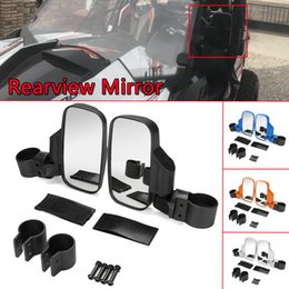 1pair universal motorbike rearview mirrors bike black round For Polaris 800 900 1000 UTV Side View Mirror