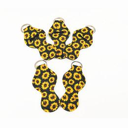 2019 großhandel bienenschmuck Chapstick Halter Neopren Schlüsselanhänger Sunflower Printed Schlüsselanhänger Wrap Lippenstift Abdeckung Parteibevorzugung Geschenke für Dame Mädchen
