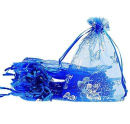 Mariposa de embalaje de regalo online-100 unids / lote Blue Butterfly Organza Bolsas de regalo de boda Bolsas de embalaje 7x9cm Joyería embalaje