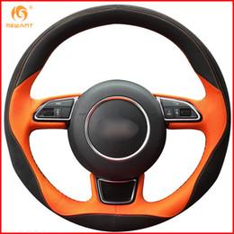 MEWANT Черный Оранжевая кожа Черная замша Крышка рулевого колеса автомобиля для деталей интерьера A1 A3 A5 A7 от