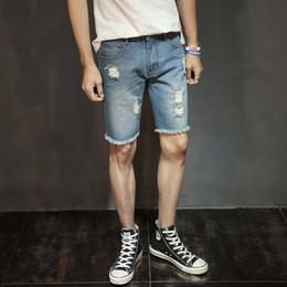 Pipe de cowboys en Ligne-2019 Pantalons pour hommes Été New Cave Cowboy shorts Straight Pipe pour les jeunes Cowboy shorts genou jeans hommes 806