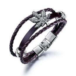 Кожаный браслет клена онлайн-Европейские и американские ретро браслеты ручной работы пряжка мужской кожаный браслет ювелирные изделия Maple Leaf сплава 3-PH1329