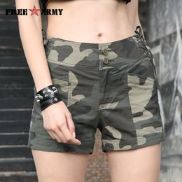 2020 pantalones cortos de ciclismo de camuflaje Freearmy Summer Shorts Mujeres Sexy Lazy Tall Tail Shorts Cordon Train Military Camouflage Spandex Cotton Shorts Cycling Ladies Y19071501 pantalones cortos de ciclismo de camuflaje baratos