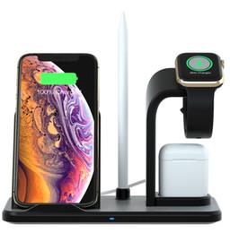 Estación de carga inalámbrica iphone online-Soporte desmontable 3 en 1 para estación de carga con cargador inalámbrico para Iphone X XR Max Airpod Apple Watch