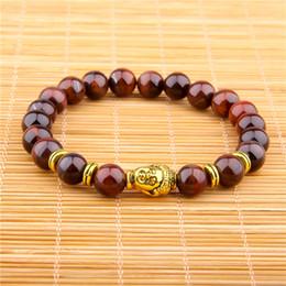 Vinswet Natural Tiger Eye Pulseira dos homens Buddha Charme Pulseiras para As Mulheres Homens amizade casal pulseira presente em massa Jóias de