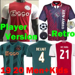 Versão do jogador de futebol on-line-2019 2020 Versão do Jogador Ajax camisetas DE LIGT Camisas de Futebol 19 20 Holanda Ajax 94 95 Retro maillots DE JONG TADIC Camisa de Futebol Infantil
