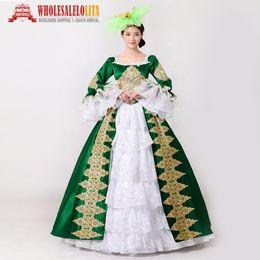 grünes renaissance kleid Rabatt Royal Green Stickerei 18. Jahrhundert Kostüm Renaissance Bürgerkrieg Southern Belle Kleid Marie Antoinette Theatrical Costume