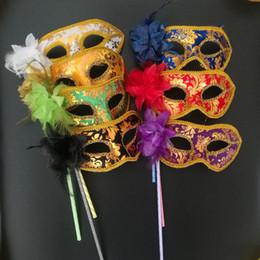 2019 traje de batman de tamanho 20 pcs Handheld Venetian Metade rosto máscara da flor Masquerade Máscara Do Partido Sexy Halloween dança de natal suprimentos Máscara Do Partido do casamento