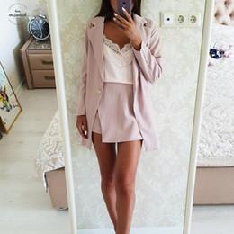 Saia de um botão on-line-Mulheres Skirt Suits One Button entalhado listradas Jaquetas Blazer e Slim Mini Saias Pieces Duas Ol Define Conjuntos Feminino 2019