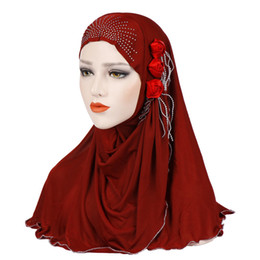 ladies muslim cap Promo Codes - Muslim Women Hijab Turban Flower Prayer Hat Cap Ladies Head Hair Cover Wrap Scarves Headband Headwrap Islamic Accessories Female